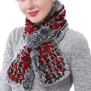 Rabbit Fur Gray ref rose scarf neck wrap winter OS